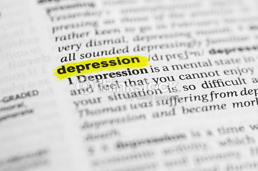 Detail Of The English Word Depression And Its Meaning Stock Photo