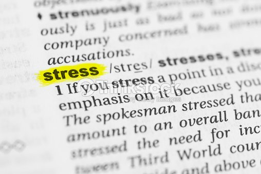 Detail Of The English Word Stress And Its Meaning Stock
