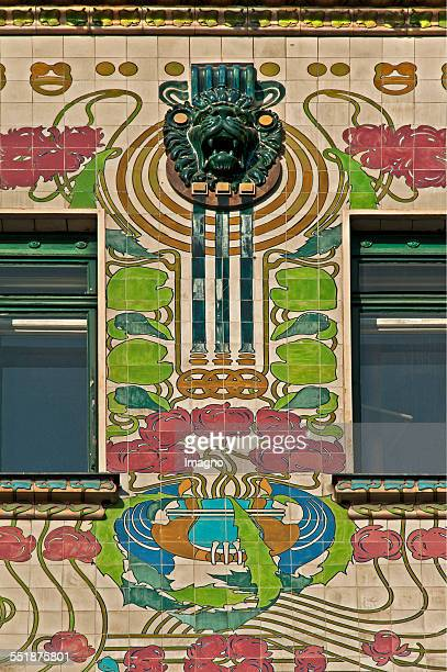 Detail of the facade of the Majolikahauses by Otto Wagner Vienna 2013 Photograph by Gerhard Trumler