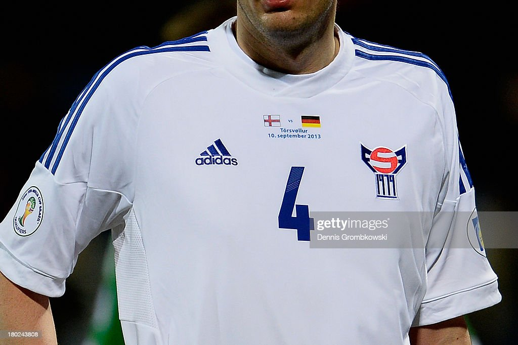 Detail of the Faeroe Islands shirt during the FIFA 2014 World Cup Qualifier match between Faeroe Islands and Germany on September 10, 2013 in Torshavn, Denmark.