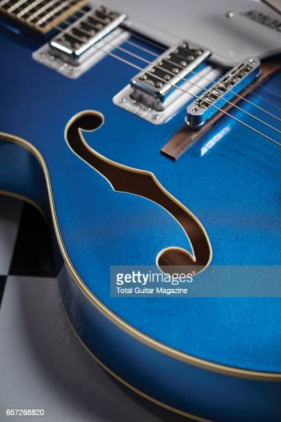 Detail of the Fholes on a Gretsch G5420T Electromatic Hollow Body electric guitar taken on June 29 2016