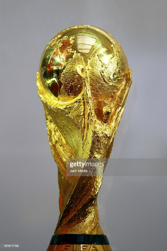 Detail of the FIFA World Cup during the presentation of the FIFA 2014 trophy in the Chamber of Deputies on February 12, 2013, in Mexico City, Mexico.