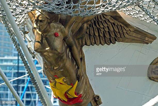 Detail of the figurehead on Colombian sail ship 'Gloria' moored in the port of Buenos Aires during the Tall Ship regatta 'Sails South America 2010'...