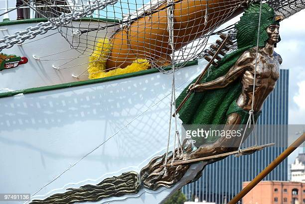 Detail of the figurehead on the Mexican sail ship 'Cuauhtemoc' moored in the port of Buenos Aires during the tall ship regatta 'Sails South America...