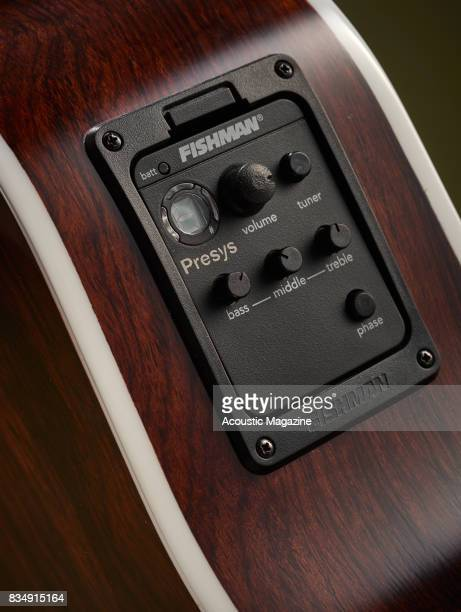 Detail of the Fishman Presys EQ on a Cort Grand Regal GA5FMD NAT electroacoustic guitar taken on November 16 2016