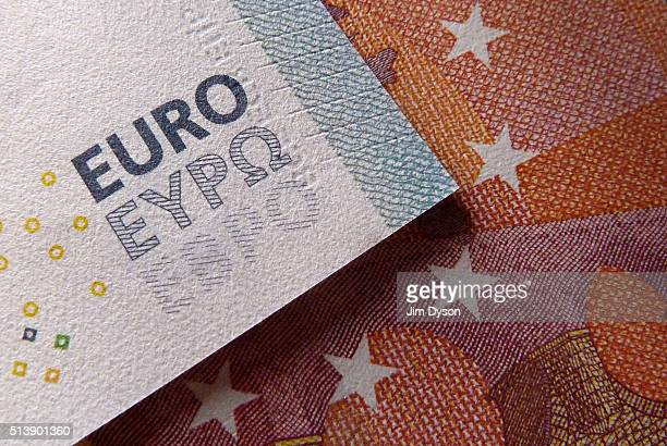 A detail of the five and ten Euro bank notes on March 4 2016 in London England
