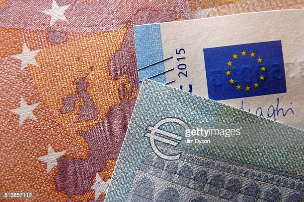 A detail of the five ten and twenty Euro bank notes on March 4 2016 in London England