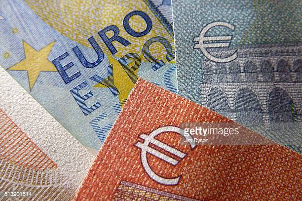 A detail of the five ten twenty and fifty Euro bank notes on March 4 2016 in London England
