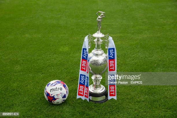 Detail of the Football League Championship trophy and the the official EFL Mitre match ball