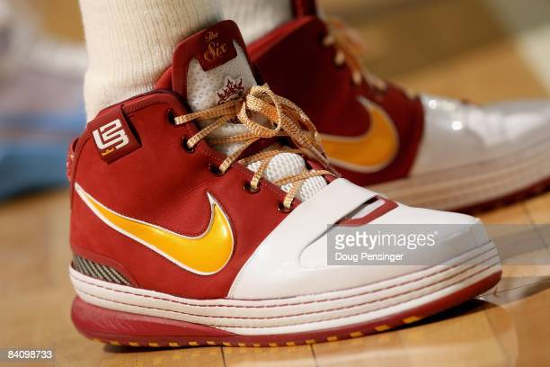 A detail of the footware of LeBron James of the Cleveland Cavaliers as he faces the Denver Nuggets at the Pepsi Center on December 19 2008 in Denver...