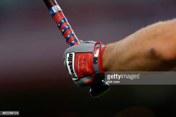 A detail of the Franklin batting glove worn by Paul DeJong of the St Louis Cardinals during the game against the Cincinnati Reds at Great American...