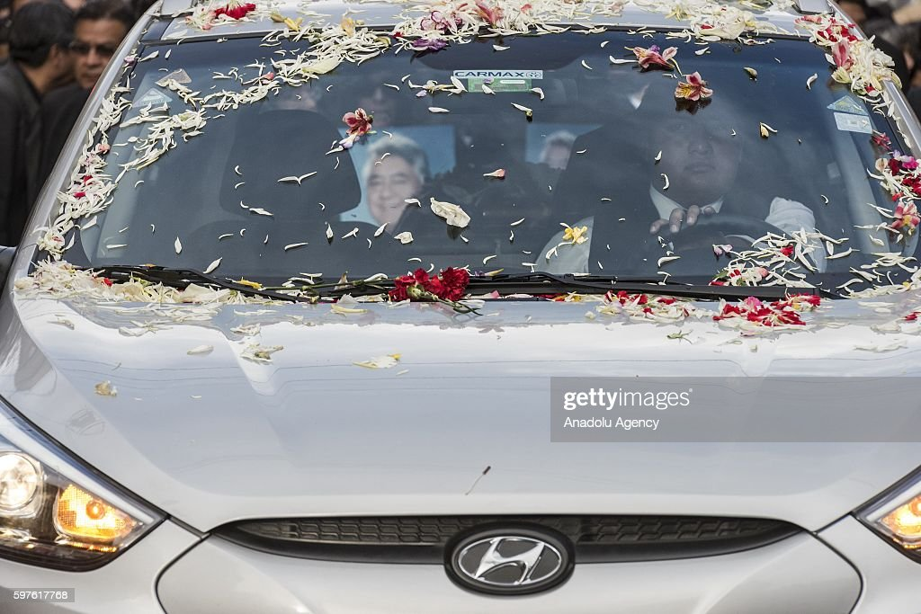 Detail of the funeral car of Deputy Minister Rodolfo Illanes during his burial in La Paz Bolivia on August 28 2016 Deputy Minister of the interior...