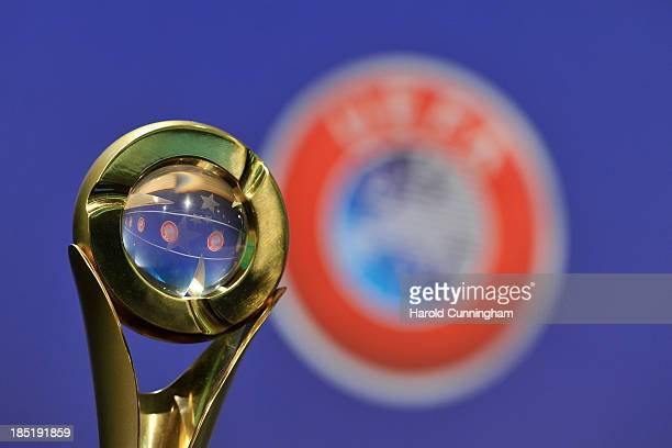 A detail of the Futsal Cup trophy is seen prior to the UEFA Futsal Cup 2013/14 Finals Elite Round draw at the UEFA headquarters The House of European...
