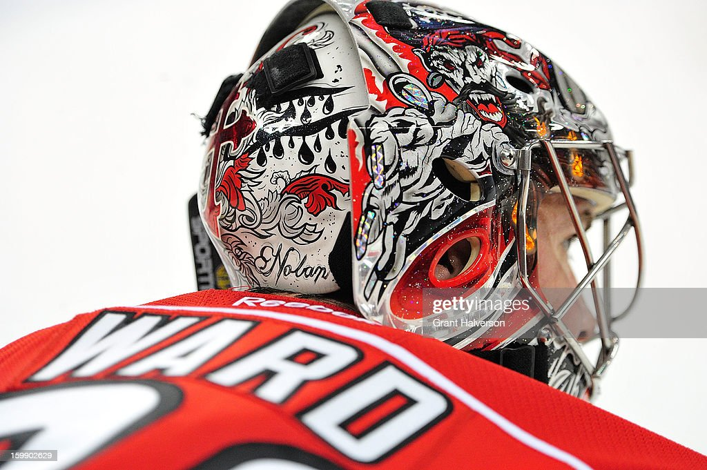 Detail of the goalkeeping helmet of Cam Ward #30 of the Carolina Hurricanes during a game against the Tampa Bay Lightning at PNC Arena on January 22, 2013 in Raleigh, North Carolina.