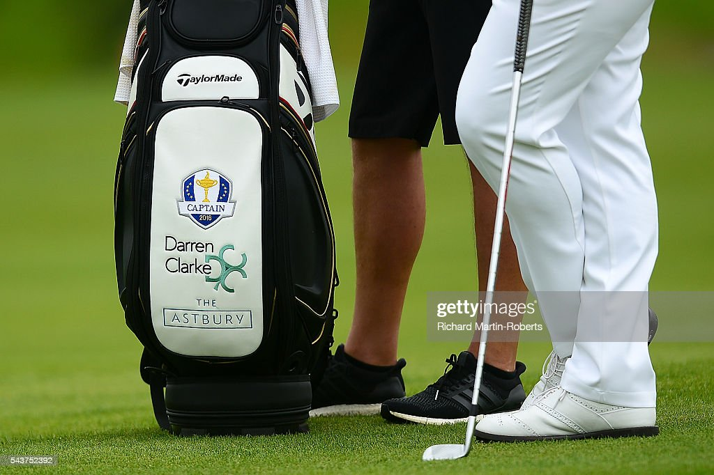 Detail of the golf bag of <a gi-track='captionPersonalityLinkClicked' href=/galleries/search?phrase=Darren+Clarke&family=editorial&specificpeople=171309 ng-click='$event.stopPropagation()'>Darren Clarke</a> of Northern Ireland during the first round of the 100th Open de France at Le Golf National on June 30, 2016 in Paris, France.