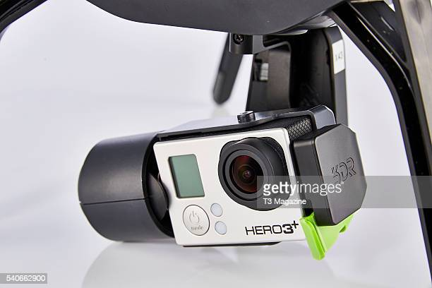 Detail of the GoPro Hero 3 Plus action camera fitted to a 3D Robotics Solo drone taken on October 9 2015