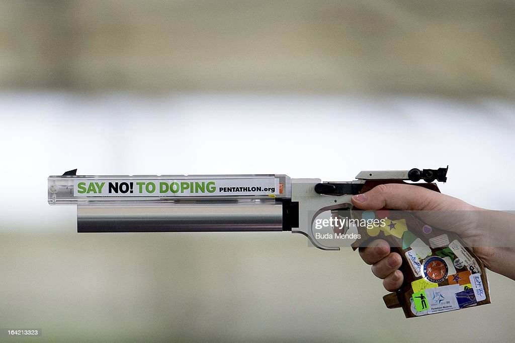 Detail of the gun, with the campaign against doping in the Women's Pentathlon during the Modern Pentathlon World Cup Series 2013 at Complexo Deodoro on March 20, 2013 in Rio de Janeiro, Brazil.