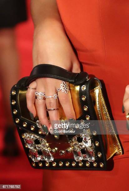 A detail of the handbag and jewellery of Delta Goodrem as she arrives at the 59th Annual Logie Awards at Crown Palladium on April 23 2017 in...