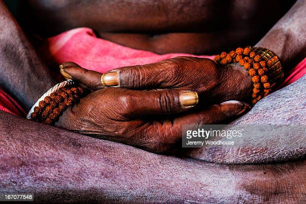 Detail of the hands of meditating Sadhu