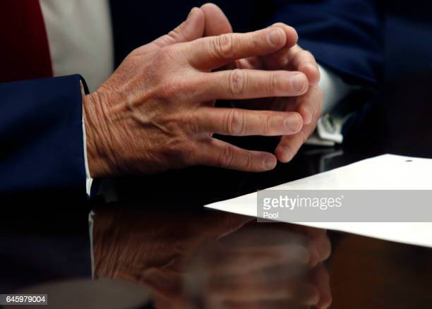 Detail of the hands of US President Donald Trump as he leads a listening session with health insurance company CEO's in the Roosevelt Room of the...