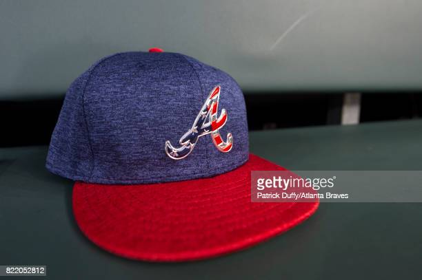 A detail of the hat before the game against the Houston Astros at SunTrust Park on July 4 2017 in Atlanta Georgia The Astros won 164