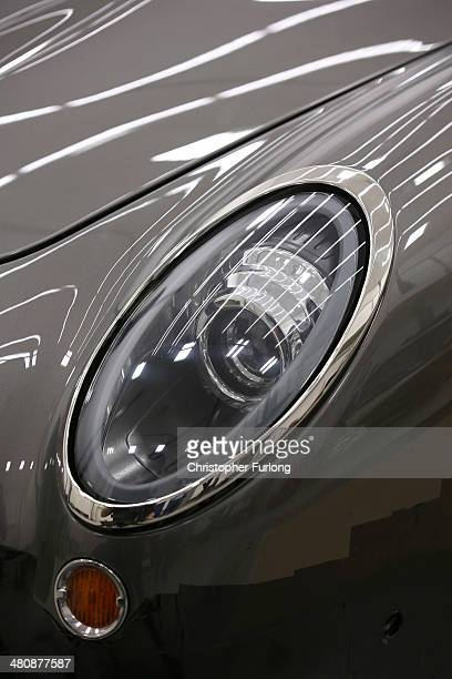 A detail of the headlight cluster of 'Speedback' the new luxury British sports car made by David Brown Automotive on March 20 2014 in Coventry...