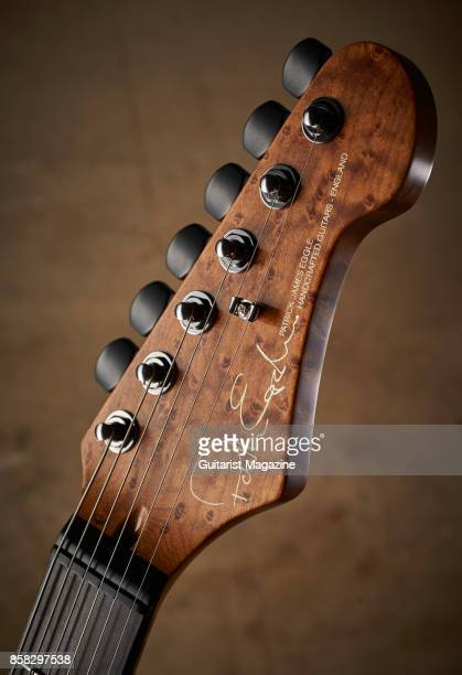 Detail of the headstock and Gotoh Magnum Lock tuners on a Patrick James Eggle The 96 Carved Top electric guitar taken on December 1 2016