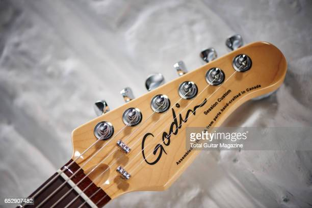 Detail of the headstock on a Godin Session Custom '59 electric guitar taken on April 27 2016