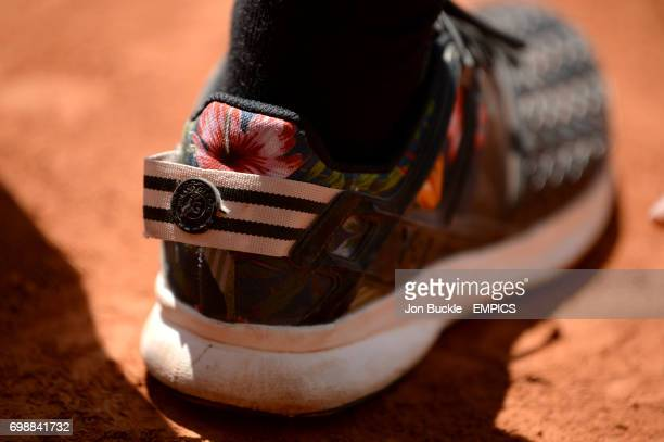 Detail of the heel of a tennis shoe during the round three Men's singles match Borna Coric against Jack Sock on day seven of the French Open at...