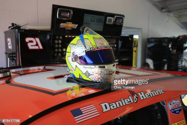 A detail of the helmet of Daniel Hemric driver of the Poppy Bank Chevrolet during practice for the NASCAR XFINITY Series Championship Ford EcoBoost...