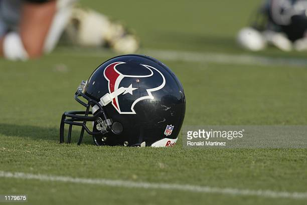 Detail of the helmet of the Houston Texans on the practice field during training camp on July 22 2002 at Reliant Park in Houston Texas
