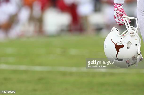 A detail of the helmet of the Texas Longhorns at Cotton Bowl on October 11 2014 in Dallas Texas