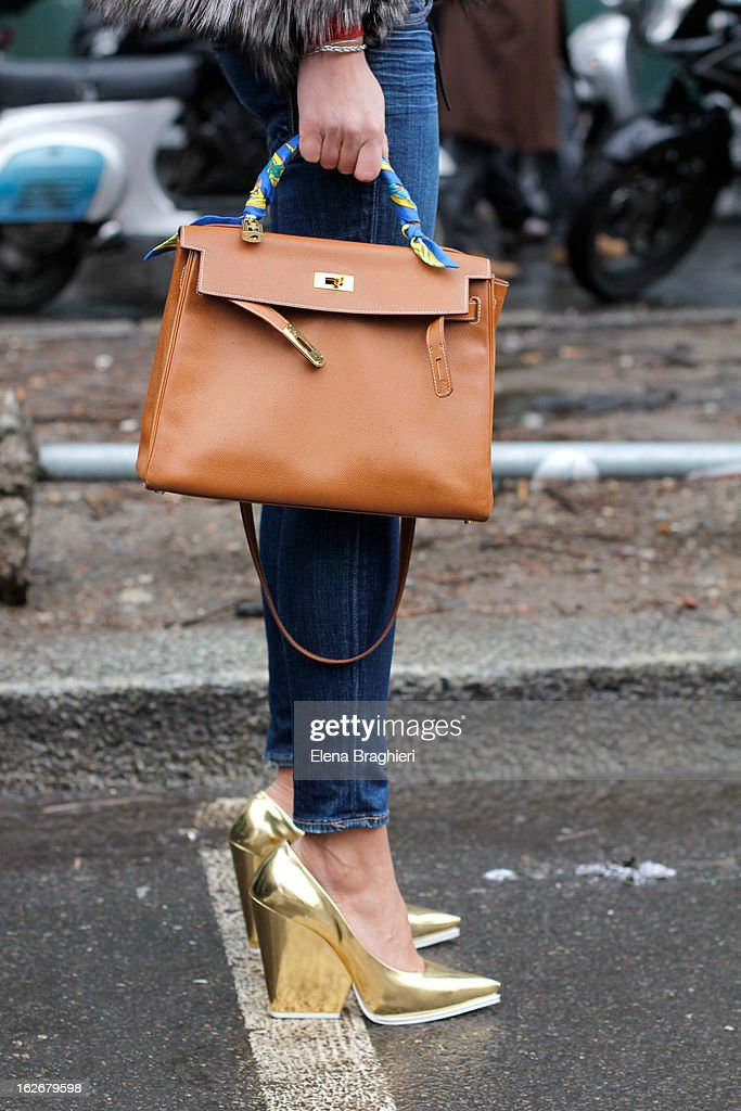 A detail of the Hermes bag and Celine shoes of Carlotta Oddi at the Milan Fashion Week Womenswear Fall/Winter 2013/14 on February 25, 2013 in Milan, Italy.