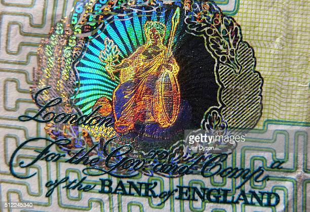 A detail of the holographic foiling on a £5 banknote featuring a brightly coloured picture of Britannia on February 24 2016 in London England The...