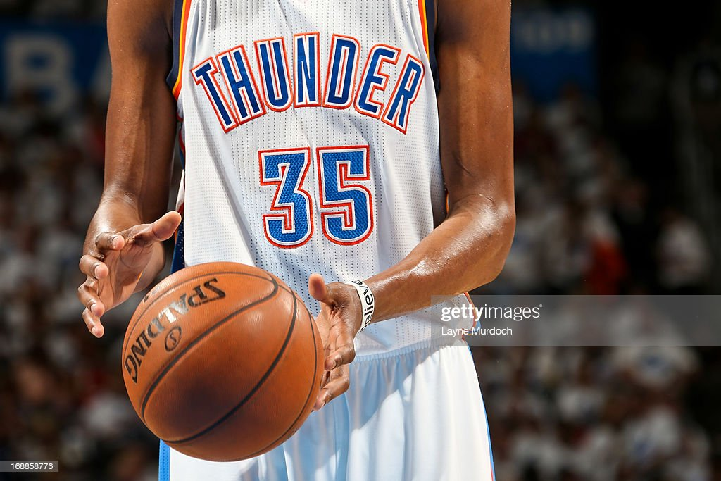 A detail of the 'iBelieve' bracelet worn by Kevin Durant #35 of the Oklahoma City Thunder while playing the Memphis Grizzlies in Game Five of the Western Conference Semifinals during the 2013 NBA Playoffs on May 15, 2013 at the Chesapeake Energy Arena in Oklahoma City, Oklahoma.