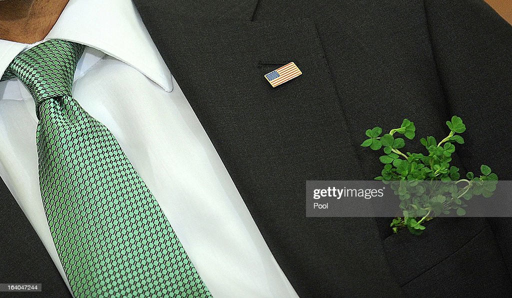 A detail of the jacket and tie of U.S. President Barack Obama as he meets with Irish Prime Minister Enda Kenny in the Oval Office of the White House March 19, 2013 in Washington, DC. Later in the day Kenny will have lunch at the U.S. Capitol with the Friends of Ireland.