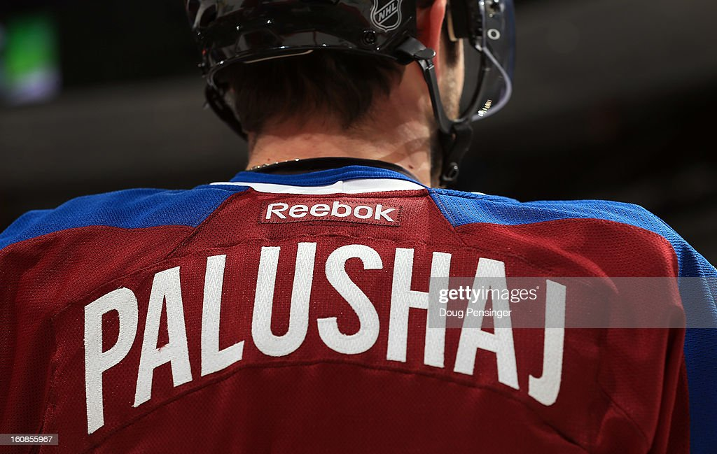 A detail of the jersey of Aaron Palushaj #17 of the Colorado Avalanche as he warms up prior to facing the Anaheim Ducks at the Pepsi Center on February 6, 2013 in Denver, Colorado. The Ducks defeated the Avalanche 3-0.