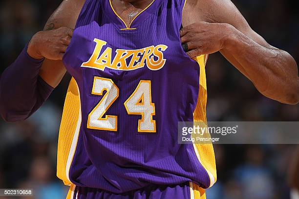 Detail of the jersey of Kobe Bryant of the Los Angeles Lakers as he faces the Denver Nuggets at Pepsi Center on December 22 2015 in Denver Colorado...