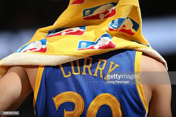 A detail of the jersey of Stephen Curry of the Golden State Warriors as he looks during a break in the action against the Denver Nuggets at Pepsi...