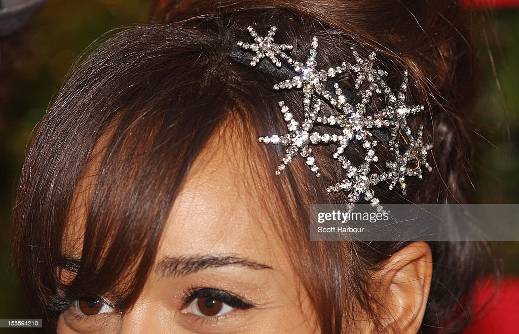 A detail of the jewellery worn by Ashley Madekwe as she arrives at the Emirates marquee at the Melbourne Cup at Flemington Racecourse on November 6, 2012 in Melbourne, Australia.