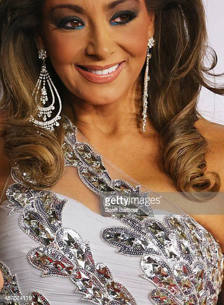 A detail of the jewellery worn by Gina Liano from the The Real Housewives of Melbourne as she arrives at the 2014 Logie Awards at Crown Palladium on...