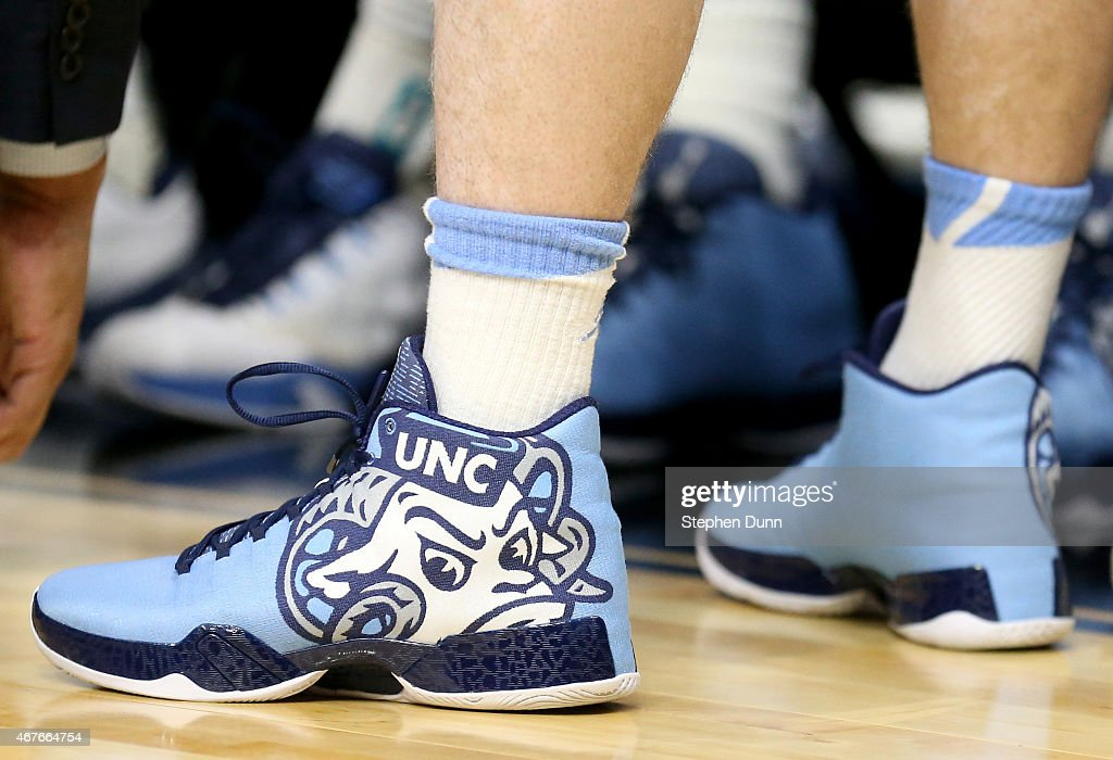 Detail of the Jordan brand shoes worn by a North Carolina Tar Heels player during the West Regional Semifinal of the 2015 NCAA Men's Basketball...
