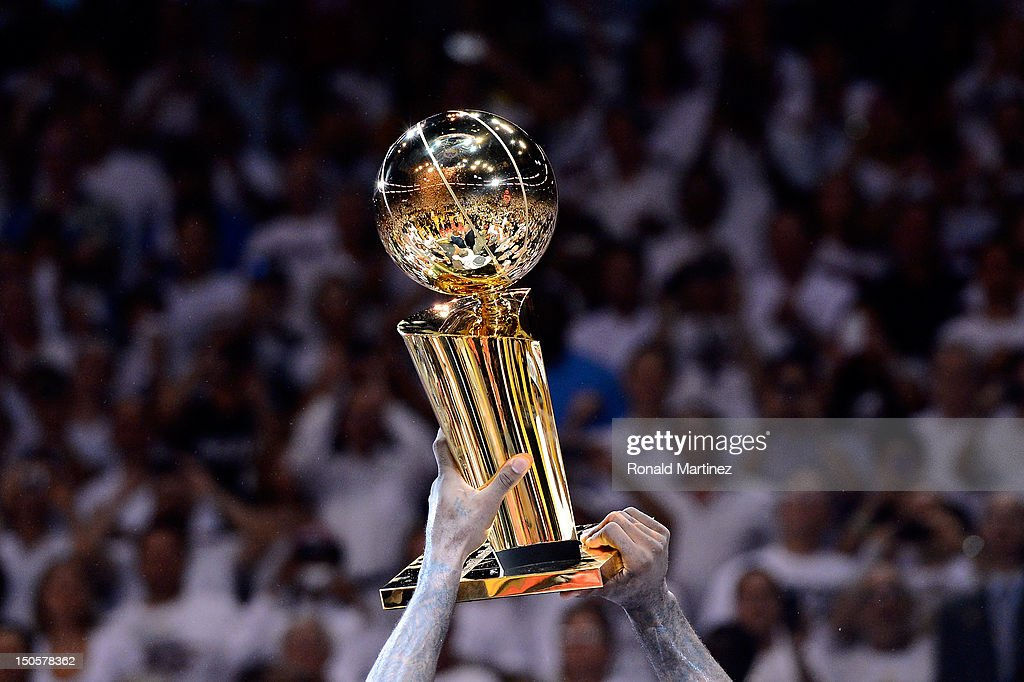 A detail of the Larry O'Brien Championship trophy as the Miami Heat celebrate after they won 121106 against the Oklahoma City Thunder in Game Five of...