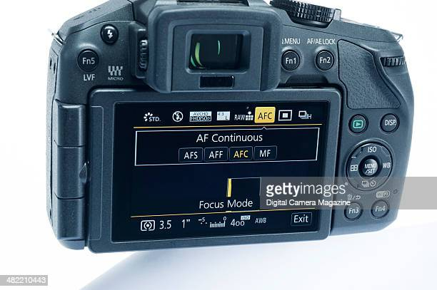 Detail of the LCD touchscreen on a Panasonic Lumix DMCG6 compact system camera taken on June 21 2013
