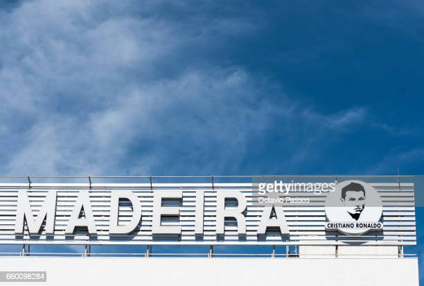 Detail of the logo of the airport after the ceremony at Madeira Airport to rename it Cristiano Ronaldo Airport on March 29 2017 in Santa Cruz Madeira...