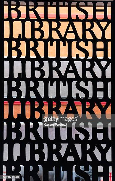 Detail of the main entrance's metal door to the British Library in London