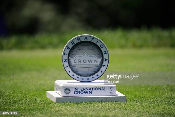A detail of the marker on the 5th tee box during the final round of the International Crown at Cave Valley Golf Club on July 27 2014 in Owings Mills...