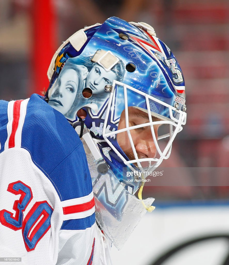 A detail of the mask showing images of Ingrid Bergman and Greta Garbo is worn by goaltender Henrik Lundqvist #30 of the New York Rangers prior to the start of the game against the Florida Panthers at the BB&T Center on April 23, 2013 in Sunrise, Florida. The Panthers defeated the Rangers 3-2.