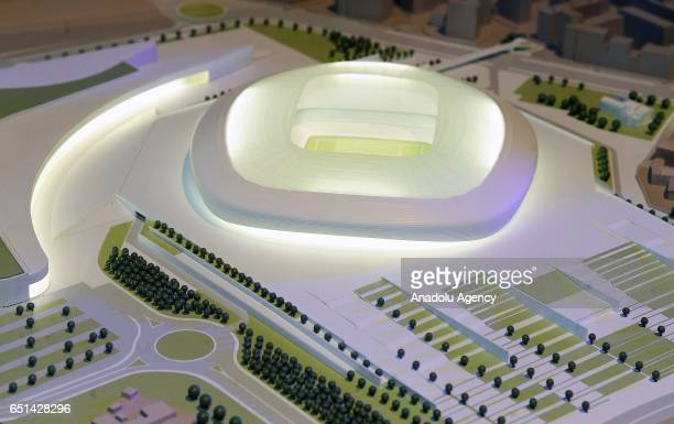 A detail of the model of the ACF Fiorentina's new soccer stadium during the presentation of it's project at Palazzo Vecchio on March 10 2017 in...