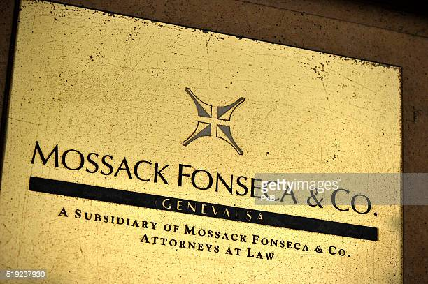 A detail of the Mossack Fonseca Geneva office plate on April 5 2016 in Geneva Switzerland 115m files anonymously leaked from the database of the...